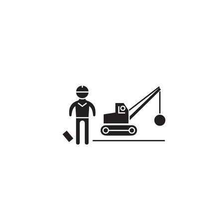 Demolition construction black vector concept icon. Demolition construction flat illustration, sign, symbol