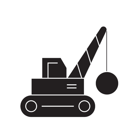 Demolition crane black vector concept icon. Demolition crane flat illustration, sign, symbol