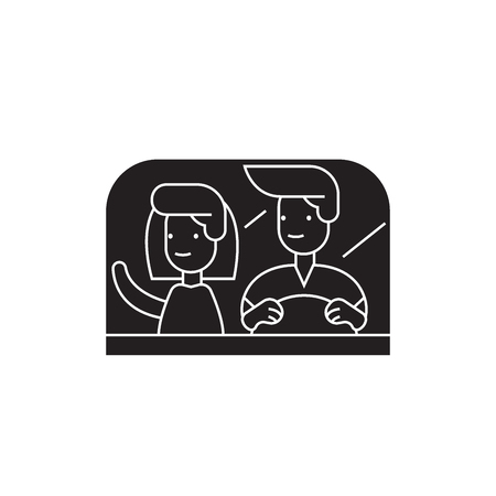 Couple driving away black vector concept icon. Couple driving away flat illustration, sign, symbol