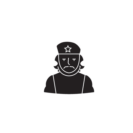 Che guevara black vector concept icon. Che guevara flat illustration, sign, symbol Illustration