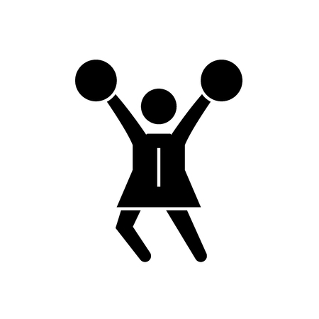 Cheerleader black vector concept icon. Cheerleader flat illustration, sign, symbol Çizim