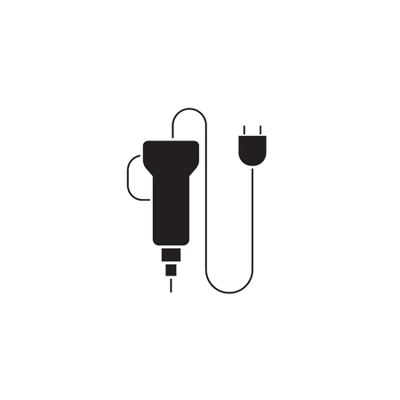 Electric screwdriver black vector concept icon. Electric screwdriver flat illustration, sign, symbol