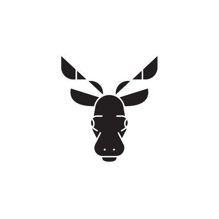 Elk head black vector concept icon. Elk head flat illustration, sign, symbol