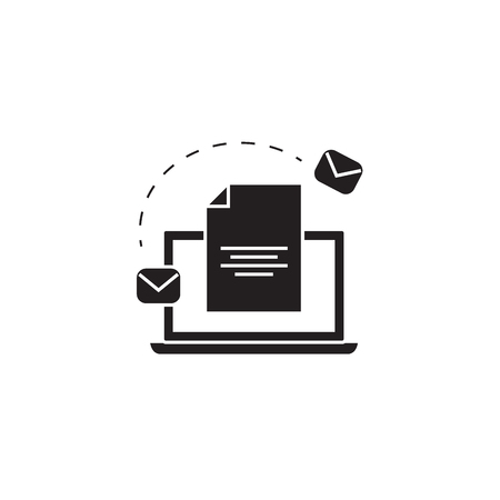 Email marketing system black vector concept icon. Email marketing system flat illustration, sign, symbol