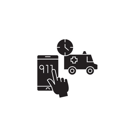 Emergency call black vector concept icon. Emergency call flat illustration, sign, symbol 向量圖像