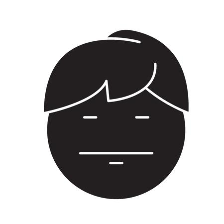 Emo emoji black vector concept icon. Emo emoji flat illustration, sign, symbol