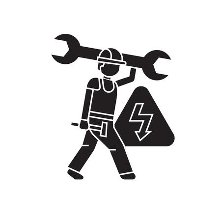 Icône de concept de vecteur noir génie électrique. Télévision génie électrique illustration, signe, symbole Vecteurs