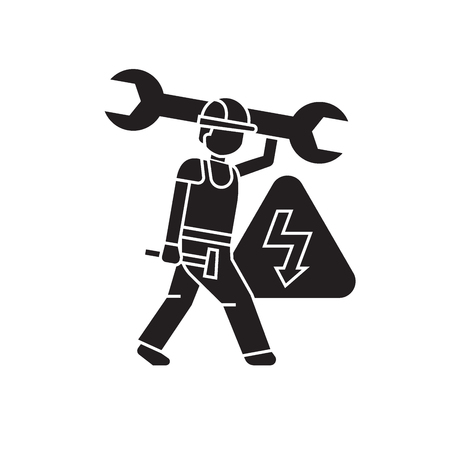 Electrical engineering black vector concept icon. Electrical engineering flat illustration, sign, symbol
