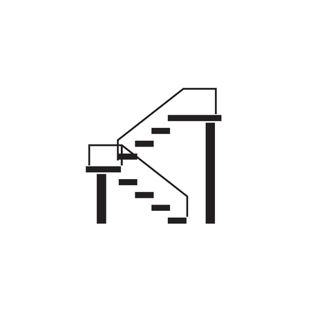 Double stairs black vector concept icon. Double stairs flat illustration, sign, symbol