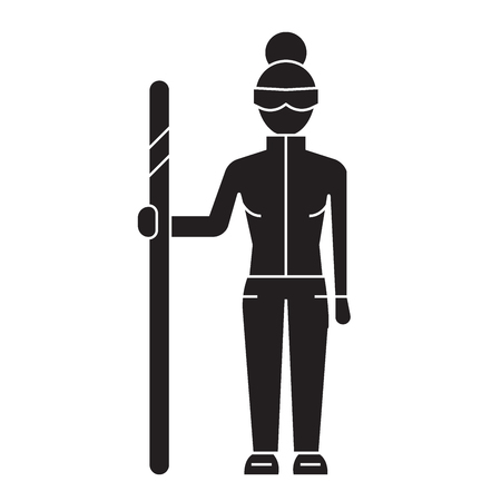 Downhill skier black vector concept icon. Downhill skier flat illustration, sign, symbol Illustration