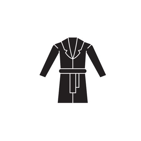 Dressing gown black vector concept icon. Dressing gown flat illustration, sign, symbol Stock Illustratie