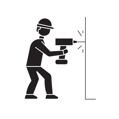 Drilling a hole in wall black vector concept icon. Drilling a hole in wall flat illustration, sign, symbol Stock Illustratie