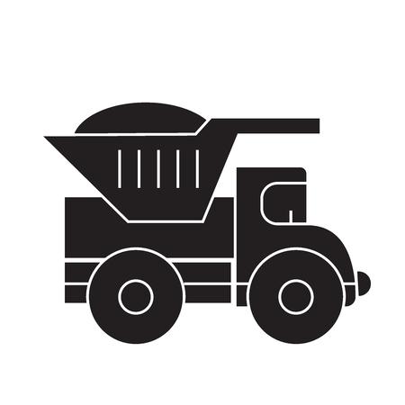Dump truck black vector concept icon. Dump truck flat illustration, sign, symbol