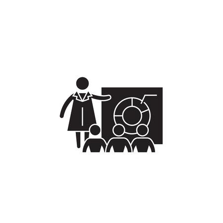 Economics lecture black vector concept icon. Economics lecture flat illustration, sign, symbol Ilustração