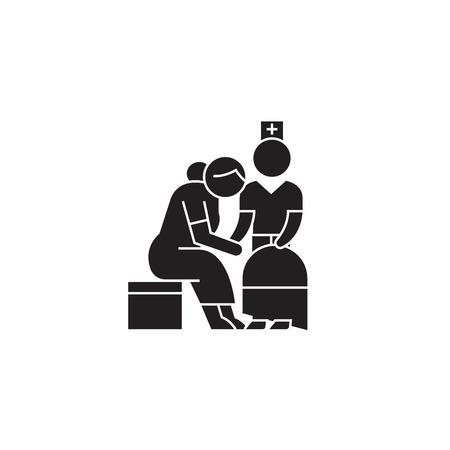 Elderly care black vector concept icon. Elderly care flat illustration, sign, symbol Illustration