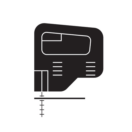 Electric jigsaw black vector concept icon. Electric jigsaw flat illustration, sign, symbol