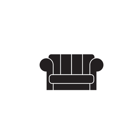 Couch black vector concept icon. Couch flat illustration, sign, symbol