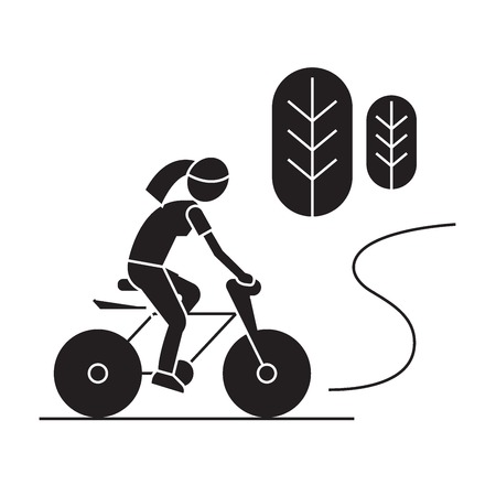 Countryside bike ride black vector concept icon. Countryside bike ride flat illustration, sign, symbol