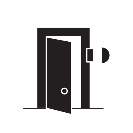 Door bell black vector concept icon. Door bell flat illustration, sign, symbol Illustration
