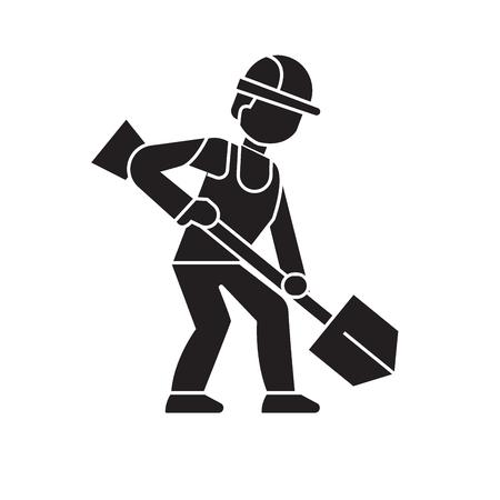 Earthworks, builder with showel black vector concept icon. Earthworks, builder with showel flat illustration, sign, symbol