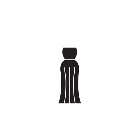Evening gown black vector concept icon. Evening gown flat illustration, sign, symbol Illustration