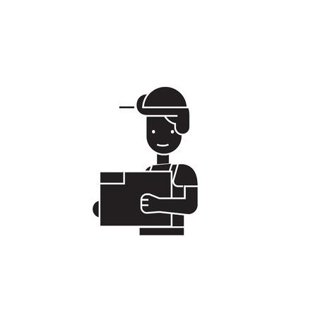 Engineer in a helmet black vector concept icon. Engineer in a helmet flat illustration, sign, symbol