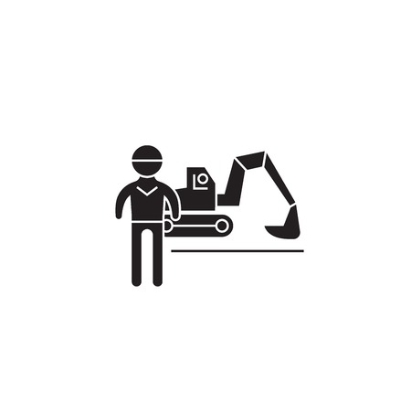 Excavator working black vector concept icon. Excavator working flat illustration, sign, symbol