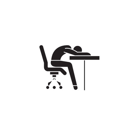 Fatigability black vector concept icon. Fatigability flat illustration, sign, symbol  イラスト・ベクター素材