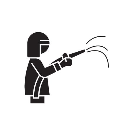 Icono de concepto de vector negro de departamento de bomberos. Ilustración plana del departamento de bomberos, signo, símbolo Ilustración de vector