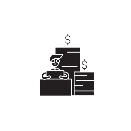 Financial trading black vector concept icon. Financial trading flat illustration, sign, symbol