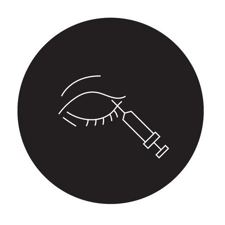 Eyes incjection treatment black vector concept icon. Eyes treatment injection flat illustration, sign, symbol