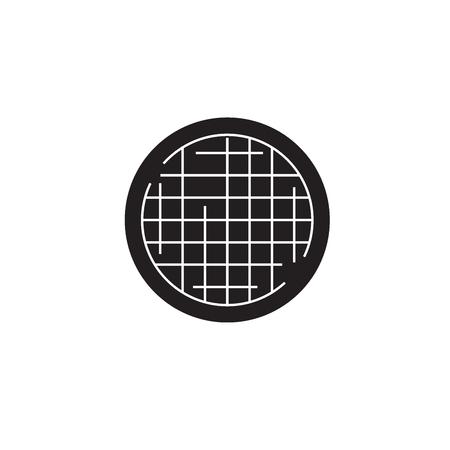 Farming sieve black vector concept icon. Farming sieve flat illustration, sign, symbol Ilustrace