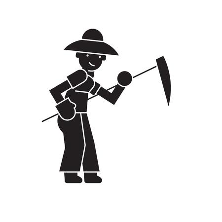 Farmer with scythe black vector concept icon. Farmer with scythe flat illustration, sign, symbol Banque d'images - 126906125