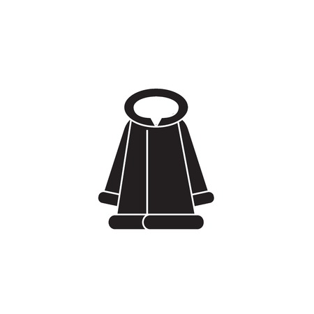 Fashion fur coat black vector concept icon. Fashion fur coat flat illustration, sign, symbol