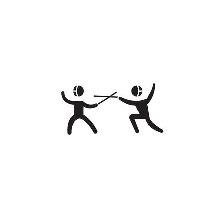 Fencing sport black vector concept icon. Fencing sport flat illustration, sign, symbol
