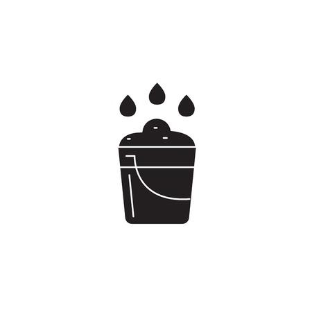 Farm bucket black vector concept icon. Farm bucket flat illustration, sign, symbol