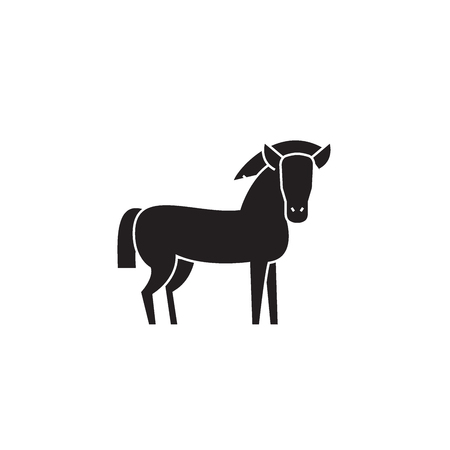 Farm horse black vector concept icon. Farm horse flat illustration, sign, symbol