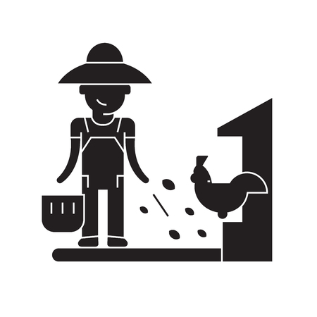 Farmer feeding black vector concept icon. Farmer feeding flat illustration, sign, symbol