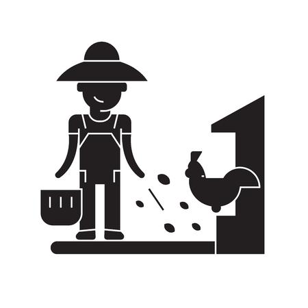 Farmer feeding black vector concept icon. Farmer feeding flat illustration, sign, symbol