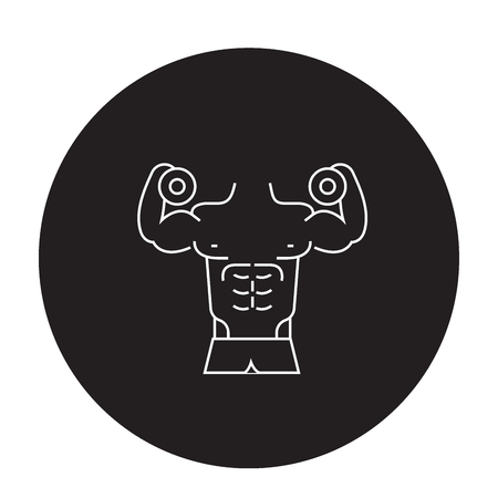 Fitness gym activities black vector concept icon. Fitness gym activities flat illustration, sign, symbol