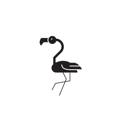 Flamingo head black vector concept icon. Flamingo head flat illustration, sign, symbol Çizim