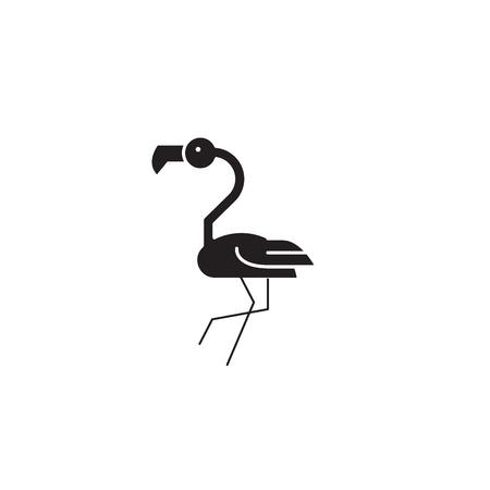 Icône de concept de vecteur noir tête de flamant rose. Flamingo tête plate illustration, signe, symbole Vecteurs