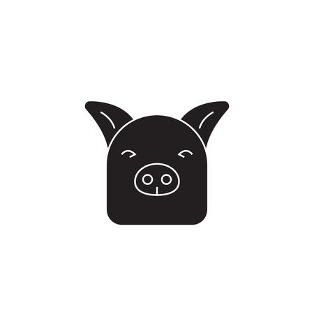 Farm pig black vector concept icon. Farm pig flat illustration, sign, symbol Foto de archivo - 126906154