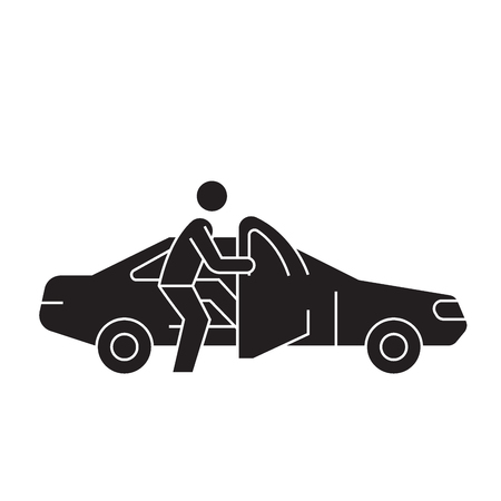 Getting in the car black vector concept icon. Getting in the car flat illustration, sign, symbol