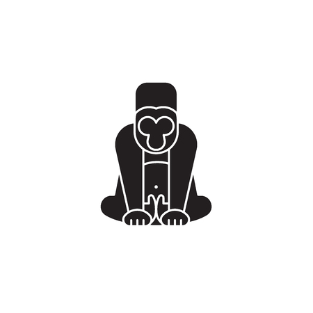 Gorilla black vector concept icon. Gorilla flat illustration, sign, symbol Illustration