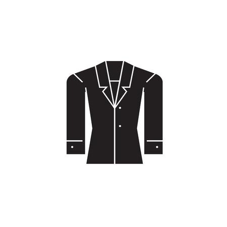 Formal jacket black vector concept icon. Formal jacket flat illustration, sign, symbol