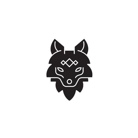 Fox head black vector concept icon. Fox head flat illustration, sign, symbol