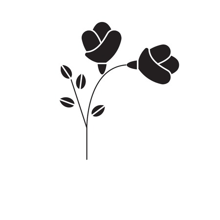 Freesia black vector concept icon. Freesia flat illustration, sign, symbol