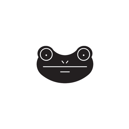 Frog black vector concept icon. Frog flat illustration, sign, symbol
