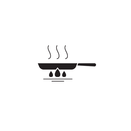 Frying pan black vector concept icon. Frying pan flat illustration, sign, symbol